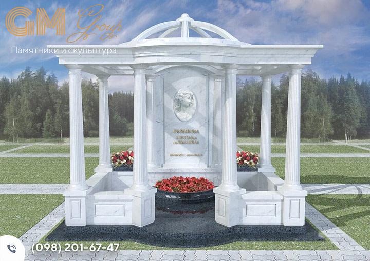 Мраморный памятник с колонами и аркой SK-2