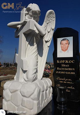 Комбинированный памятник мужчине со скульптурой ангела из мрамора PF-18
