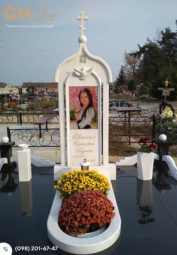 Памятник женщине из мрамора с цветным портретом – PF-1
