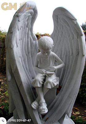 Детский памятник из мрамора с крыльями PF-351
