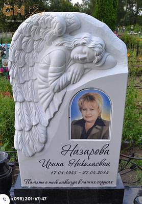 Женский памятник с барельефом ангела из мрамора PF-11