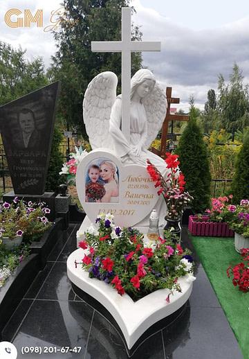 Мраморный памятник женщине со скульптурой ангела и крестом PF-3